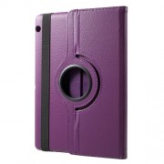 For Huawei MediaPad T3 10 Litchi Grain 360 Degree Rotary Stand Leather Protective Shell - Purple