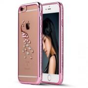 SHENGO Θήκη Σιλικόνης TPU με Πέρλες και Ζιργκόν Σχέδιο Παγώνι για iPhone 6 Plus / 6s Plus - Ροζ