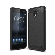 For Nokia 2 Carbon Fiber Texture Brushed TPU Back Case - Black