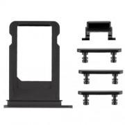 Πλαϊνά Πλήκτρα και Βάση Κάρτας Sim (side keys with card tray) για iPhone 7 - Μαύρο