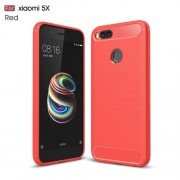 Carbon Fiber Brushed TPU Protective Mobile Phone Shell for Xiaomi Mi A1 / 5X - Red