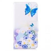 Δερμάτινη Θήκη Πορτοφόλι με Βάση Στήριξης για Xiaomi Redmi Note 5A Prime / Redmi Y1 - Μπλε Πεταλούδες και Λουλούδια