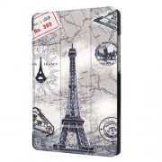 For Huawei MediaPad T3 7.0 Printing Pattern Tri-fold Leather Cover - Eiffel Tower and Map