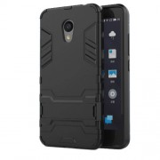 For Meizu M5c / A5 Cool Plastic TPU Kickstand Hybrid Case Accessory - Black