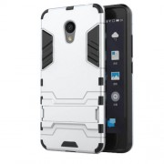 For Meizu M5c / A5 Cool Plastic TPU Kickstand Hybrid Case Accessory - Silver
