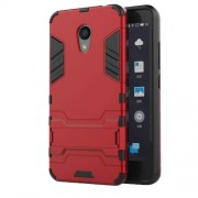 Cool Plastic TPU Kickstand Hybrid Shell Phone Accessory for Meizu M5c / A5 - Red