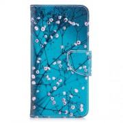Δερμάτινη Θήκη Πορτοφόλι με Βάση Στήριξης για Xiaomi Redmi Note 5A  Prime / Redmi Y1 - Κλαδιά με Άνθη σε Μπλε Φόντο