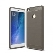 Carbon Fiber Texture Brushed TPU Back Cover Case for Xiaomi Mi Max 2 - Grey