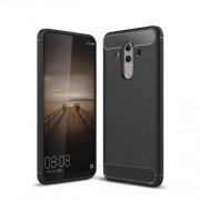 Carbon Fiber Texture Brushed TPU Back Case for Huawei Mate 10 Pro - Black
