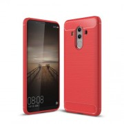 Carbon Fiber Texture Brushed TPU Phone Shell for Huawei Mate 10 Pro - Red
