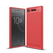 For Sony Xperia XZ1 Carbon Fiber Texture Brushed TPU Phone Casing - Red