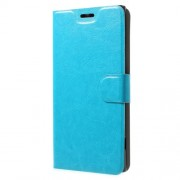 Crazy Horse Wallet Magnetic Stand Leather Shell (Built-in Steel Sheet) for Sony Xperia XA1 Plus - Blue