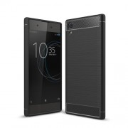 Carbon Fiber Texture Brushed TPU Back Case for Sony Xperia XA1 Plus - Black