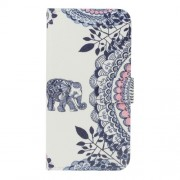 For Sony Xperia L1 Pattern Printing PU Leather Wallet Stand Phone Case Cover - Elephant and Flowers