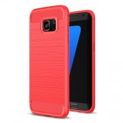Carbon Fibre Brushed TPU Case Cover for Samsung Galaxy S7 edge SM-G935 - Red