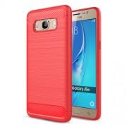 Carbon Fibre Brushed TPU Phone Case for Samsung Galaxy J5 (2016) SM-J510 - Red