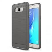 Carbon Fibre Brushed TPU Shell Case for Samsung Galaxy J7 (2016) SM-J710 - Grey