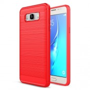 Carbon Fibre Brushed TPU Protective Case for Samsung Galaxy J7 (2016) SM-J710 - Red