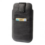 Black Card Slot Leather Pouch Case for Samsung Galaxy S5 G900 I9200 I9150 I9152 N7100 N9000 Etc, Size: 17,8 x 10,5cm