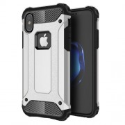 Tough Armor Υβριδική Θήκη Σιλικόνης TPU σε Συνδυαμό με Πλαστικό για iPhone X - Ασημί