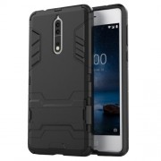 For Nokia 8 Cool Guard Plastic TPU Mobile Phone Casing with Kickstand - Black