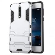 Υβριδική Θήκη Συνδυασμού Σιλικόνης TPU και Πλαστικού με Βάση Στήριξης για Nokia 8 - Ασημί