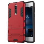 Υβριδική Θήκη Συνδυασμού Σιλικόνης TPU και Πλαστικού με Βάση Στήριξης για Nokia 8 - Κόκκινο