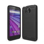 Θήκη Σιλικόνης TPU Carbon Fiber Brushed για Motorola Moto C - Μαύρο