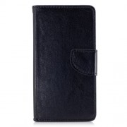 Crazy Horse Solid Color Wallet Stand Leather Phone Case for Huawei Honor 9 - Black