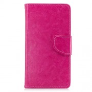Crazy Horse Solid Color Wallet Stand Leather Phone Case Shell for Huawei Honor 9 - Rose