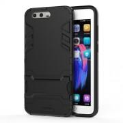Υβριδική Θήκη Συνδυασμού Σιλικόνης TPU και Πλαστικού με Βάση Στήριξης για Huawei Honor 9 - Μαύρο