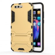 Cool Guard Plastic TPU Mobile Shell with Kickstand for Huawei Honor 9 - Gold