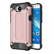 Armor Guard Plastic + TPU Hybrid Mobile Shell for Huawei Y5 (2017) / Y6 (2017) - Rose Gold