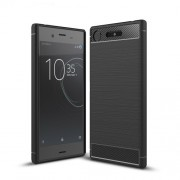 For Sony Xperia XZ1 Carbon Fiber Texture Brushed TPU Accessory Case - Black