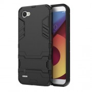 Shockproof PC + TPU Hybrid Kickstand Phone Case for LG Q6 / Q6 Plus - Black