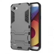 Shockproof PC + TPU Hybrid Kickstand Phone Shell for LG Q6 / Q6 Plus - Grey
