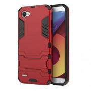 Shockproof PC + TPU Hybrid Kickstand Mobile Phone Case for LG Q6 / Q6 Plus - Red