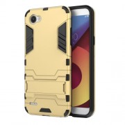 Shockproof PC + TPU Hybrid Kickstand Cell Phone Case for LG Q6 / Q6 Plus - Gold