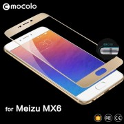 MOCOLO Silk Print Arc Edge Complete Coverage Tempered Glass Screen Protector Film for Meizu MX6 - Gold