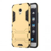 Cool Hybrid Case Plastic + TPU Shell with Kickstand for Meizu MX6 - Gold