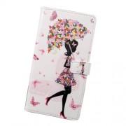 Δερμάτινη Θήκη Πορτοφόλι με Βάση Στήριξης για Xiaomi Redmi Note 4X - Κορίτσι με Λουλουδένια Ομπρέλα