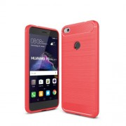 Carbon Fiber Brushed Back Case Accessory (TPU) for Huawei P8 Lite (2017) / Honor 8 Lite - Red