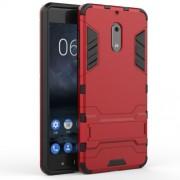 Υβριδική Θήκη Συνδυασμού Σιλικόνης TPU και Πλαστικού με Βάση Στήριξης για Nokia 6 - Κόκκινο