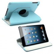 360 Degree Rotary Leather Case Cover for iPad Mini - Baby Blue