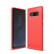 Carbon Fiber Brushed Soft TPU Phone Protective Casing for Samsung Galaxy Note 8 - Red