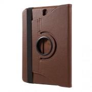 Περιστρεφόμενη Δερμάτινη Θήκη Βιβλίο με Βάση Στήριξης για Samsung Galaxy Tab S3 9.7 T820 - Καφέ