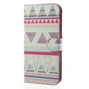 Water Transfer Printing Leather Cover for Samsung Galaxy J7 (2017) EU Version - Tribal Triangles