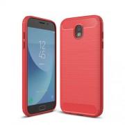 Carbon Fibre Brushed TPU Cover for Samsung Galaxy J7 (2017) EU Version - Red