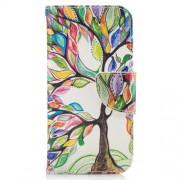 Δερμάτινη Θήκη Πορτοφόλι με Βάση Στήριξης για Samsung Galaxy A3 (2017) - Ζωγραφισμένο Δέντρο με Πολύχρωμα Φύλλα