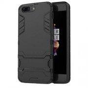 Cool Guard Kickstand PC TPU Hybrid Cover for OnePlus 5 - Black